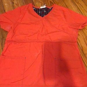 Orange scrub top medium